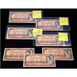 BANK OF CANADA 1954 $2.00. Lot of 7 Notes with Mixed Signatures, BC-37. VG-UNC