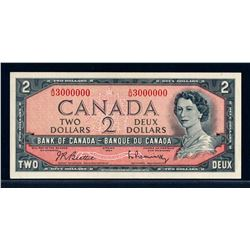 BANK OF CANADA 1954 $2.00 BC-38b-N3 Million Numbered Note AU-58