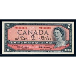 BANK OF CANADA 1954 $2.00 BC-38b-N3 Million Numbered Note UNC-62