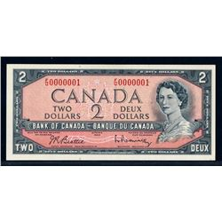 BANK OF CANADA 1954 $2.00 BC-38b-N5 Low Serial Numbered Note AU-58
