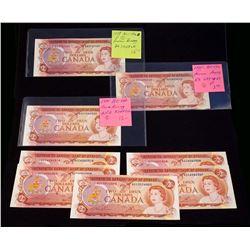 BANK OF CANADA 1974 $2.00. Lot of 8 Banknotes, BC-47. VF-UNC