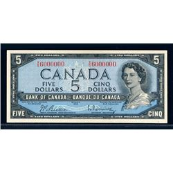 BANK OF CANADA 1954 $5.00 BC-39b-N3 Million Numbered Note UNC-62