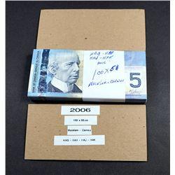 BANK OF CANADA 2006 A Bundle of 100 Pieces Macklem-Carney BC-46b
