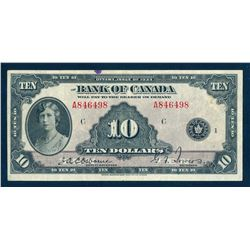 BANK OF CANADA 1935 $10.00 Osbourne-Towers, BC-7, Position C, Graded: VF.
