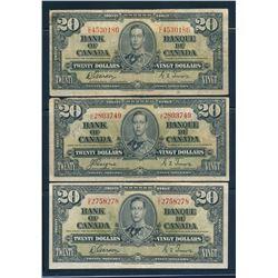 BANK OF CANADA 1937 $20.00. Lot of 5 Banknotes, BC-25. Graded: VG-F