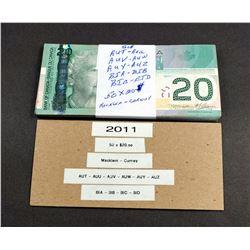 BANK OF CANADA 2011 A Bundle of 50 Pieces Macklem-Carney BC-64c