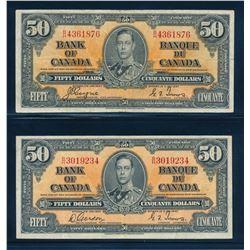 BANK OF CANADA 1937 $50.00. Lot of 2 Banknotes, BC-26. Graded: G-VF