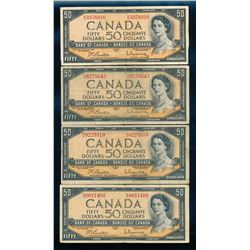 BANK OF CANADA 1954 $50.00. A lot of 4 Notes with Mixed Signatures, BC-42. VG-Fine