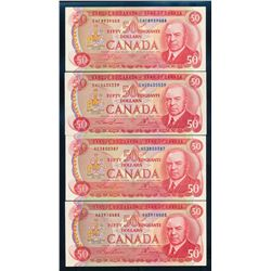 BANK OF CANADA 1975 $50.00. A lot of 4 Banknotes, BC-51. Graded: EF+-AU