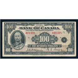 BANK OF CANADA 1935 $100.00 Osbourne-Towers, BC-15. S/N A089388 in Very Good+