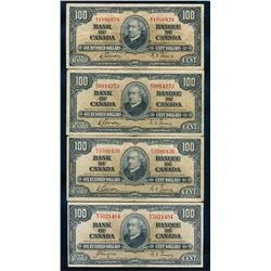 BANK OF CANADA 1937 $100.00. Lot of 4 Banknotes, BC-27, in Good+-Very Fine+