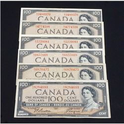 BANK OF CANADA 1954 $100.00. A lot of 6 Notes with Mixed Signatures, BC-43, VG-Fine