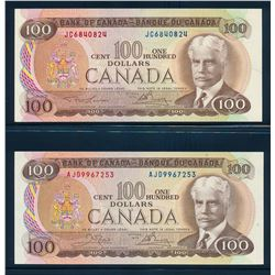 BANK OF CANADA 1975 $100.00. A Lot of 2 Banknotes, BC-52. Graded: EF-AU