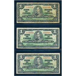 BANK OF CANADA 1937. Lot of 5 Mixed Denomination Banknotes in VG-VF
