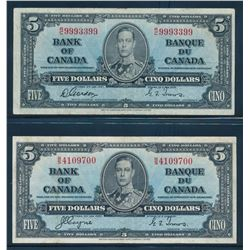 BANK OF CANADA 1937. Lot of 6 Mixed Denomination Banknotes in VG-VF