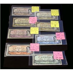 BANK OF CANADA 1954 Devil's Face. A Starter Set of 8 Banknotes in VG-VF