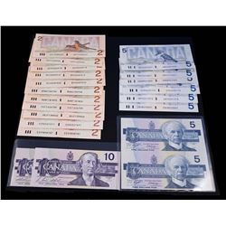 BANK OF CANADA 1986-1989 Bird Series. Lot of 21 Mixed Banknotes. Graded: VF-AU