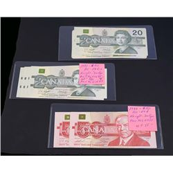 BANK OF CANADA 1988-1991. Lot of 14 Mixed Banknotes $20.- $50 in VF-UNC