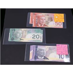 BANK OF CANADA 2001-2004. Lot of 14 Banknotes $10-50.00 in VF-UNC