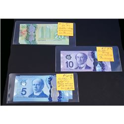 BANK OF CANADA 2013-2017. Lot of 21 Banknotes of $5 - $20 in VF-UN