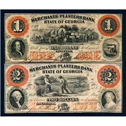 USA 1859 State of Georgia A Lot of 2 Merchants and Planters Bank Banknotes VF+