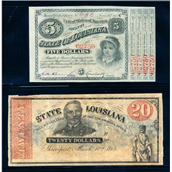 USA 1863-1874 State of Louisiana A Lot of 2 Banknotes VF-Unc