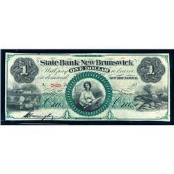 USA Undated Remainder New Jersey State Bank of New Brunswic $1.00 UNC