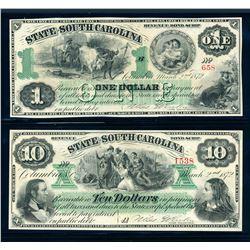 USA 1872 A Lot of 2 State of South Carolina Revenue Bond Scrip UNC