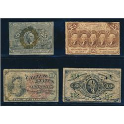 USA 1862-1863. Lot of 4 Fractional Curency Notes. Graded: VG-VF