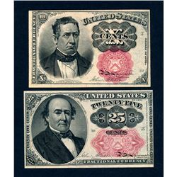USA 1874 A Lot of 2 Fractional Curreny Banknotes Uncirculated