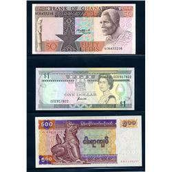 WORLD BANKNOTES A lot of 7 African and South Seas VF=-Umc.