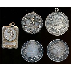 CANADA 1924-1948 A Lot of 5 Sports Medals Named and Dated 80.0 grams .925 Silver