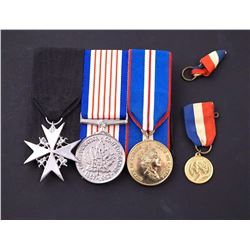 1958-2002 A Lot of 4 Military Medals w/Ribbons, 3 Mounted for Wearing, 1 Minature.