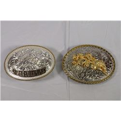 A 2 Piece Lot of Custom Belt Buckles in Mint Condition w/ Gold Highlightsw, Never Worn
