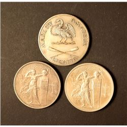 EUROPE A Lot of 3 Silver Award Medals Hallmarked and Named 74.3 grams Silver