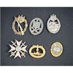 GERMANY A Lot of 6 World War II Military Badges Original & Restrkes VG-UNC