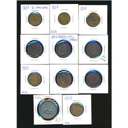 A 11 Piece Lot of Canadian Tokens Highlighted by Lr-1513 1888 Lansdowne in Fine