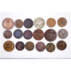 CANADA 1837-1934 A Lot of 18 Commercial Tokens Good-Extra fFne