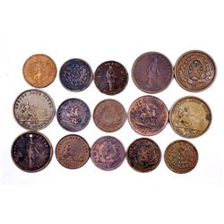 CANADA 1837-1857 A Lot of 15 Commercial Tokens Very Good-Very Fine