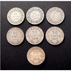 NEWFOUNDLAND 1898-1919. Lot of 7 Half Dollars Graded in Very Good