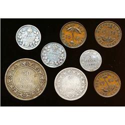 NEWFOUNDLAND 1876-1942 A Lot of 8 Mixed Denominations VG-Extra Fine