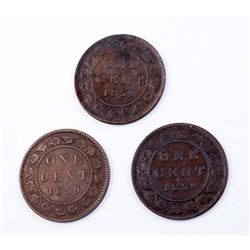 CANADA 1859 A Lot of 3 Victoria One Cent Coins in Fine-Extra Fine