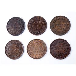 CANADA 1876-1884 A Lot of 6 Victorian One Cents in Fine+-Extra Fine