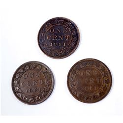 CANADA 1891 A Lot of 3 Varieties of the 1891 OC2 Cent in Fine+-Very Fine