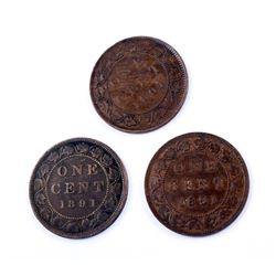 CANADA 1891 A Lot of 3 Varieties of the 1891 OC3 Cent in Fine+-Very Fine