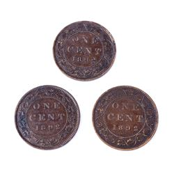 CANADA 1892 A Lot of 3 Obverses of the 1892 Cent in Very Fine-Very Fine+