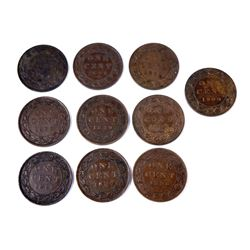 CANADA 1893-1901 A Lot of 10 Victorian Cents in Very Fine-Extra Fine