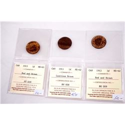 CANADA 1911-1915 A Lot of 3 George V Large Cents w/ICCS COA All Mint State