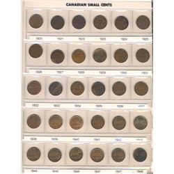CANADA 1920-2017 Type/Year Cent Collection of 133 Coins in Uni-Safe Binder Fine-UNC