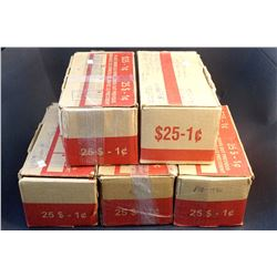 CANADA 1940-2006 A Lot of 250 Rolls of One Cent Circulated Coins in 5 Boxs FV $125.00